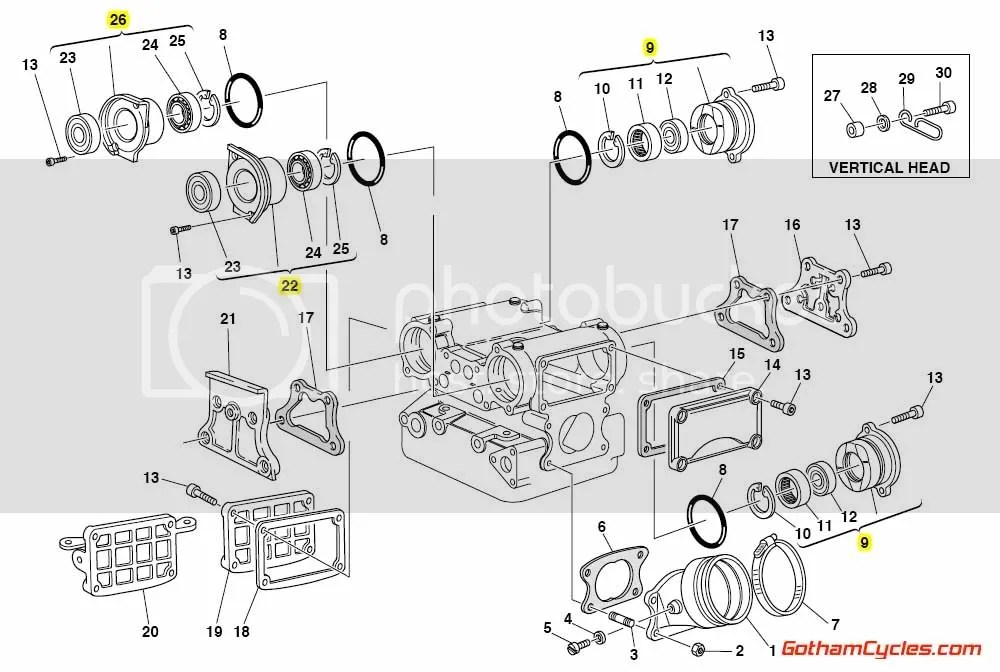 Ducati Camshaft Caps and Bearings Silver: 748-996