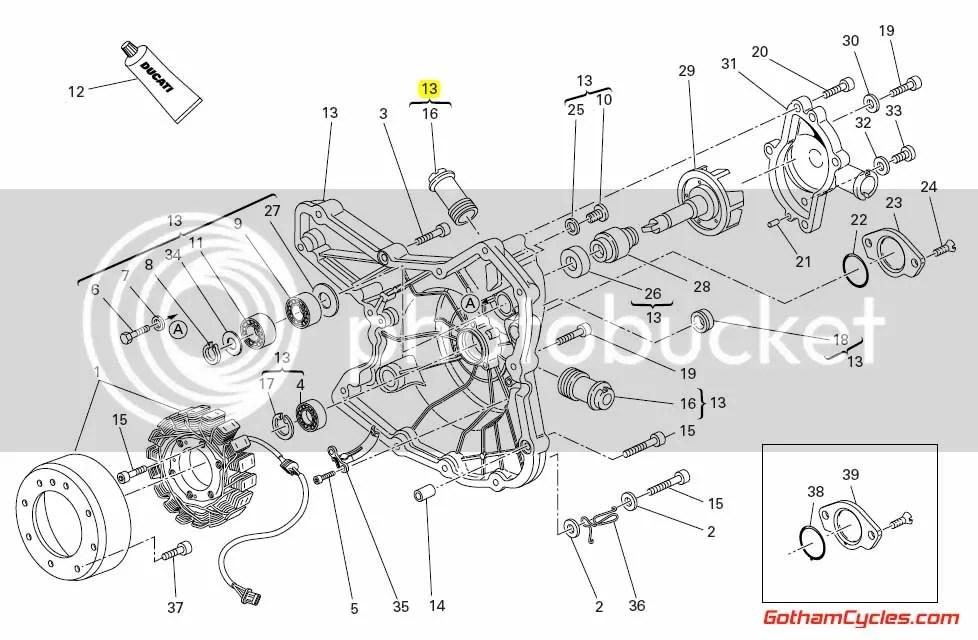 Ducati Left Side Engine Alternator/Stator Cover: 1198, SF