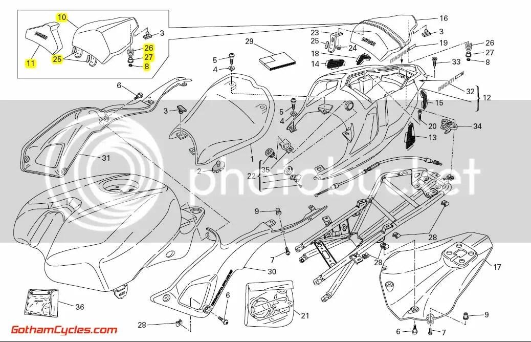 Ducati Tail Rear Seat Cowl Black: 848-1198 SUPERBIKE 848