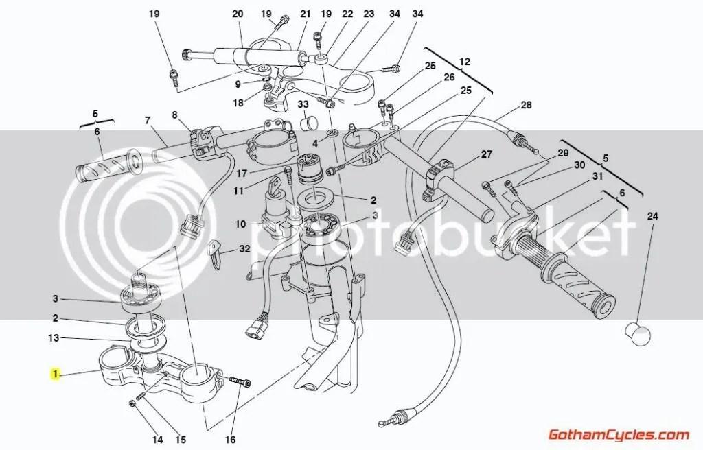 Ducati Lower Triple Tree Steering Stem for Nonadjustable