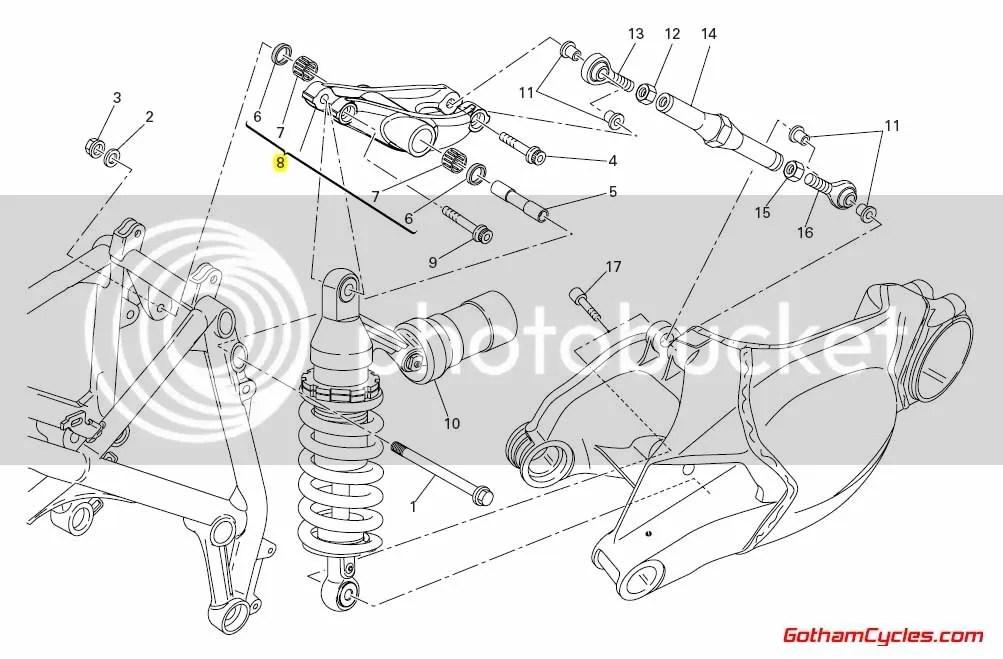 Ducati Swingarm Rocker Assembly: 848/1098 SUPERBIKE 848