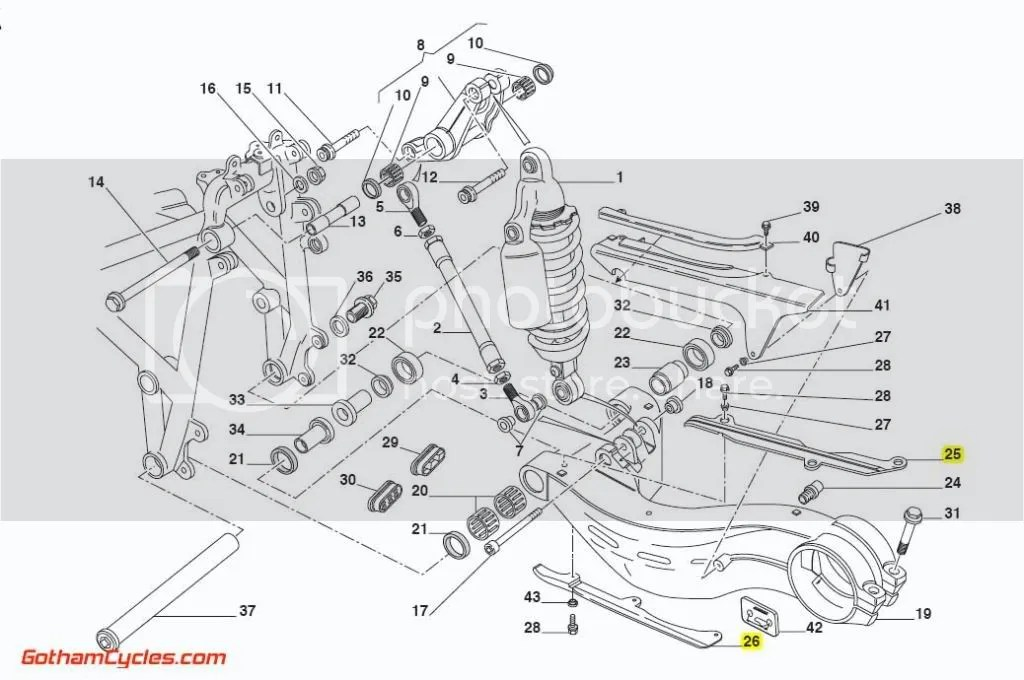 Ducati Swingarm Chain Guards: Upper Lower Slider Sliders