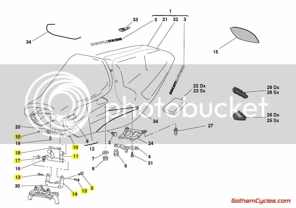 Ducati Complete Seat Hinge: 748-998 SUPERBIKE 748 748S