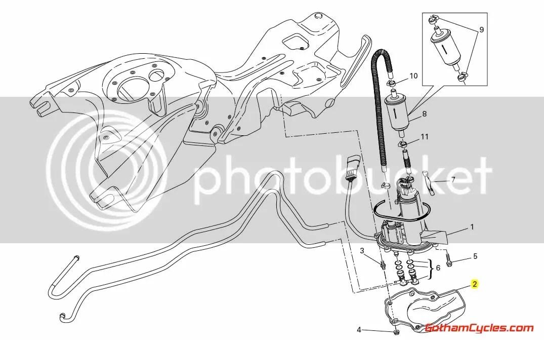 Ducati Fuel Pump Flange Guard: Hypermotard 46012721A