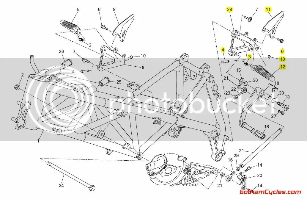 Ducati Left Foot Peg Rear Set: 848/1098 SUPERBIKE 848 1098