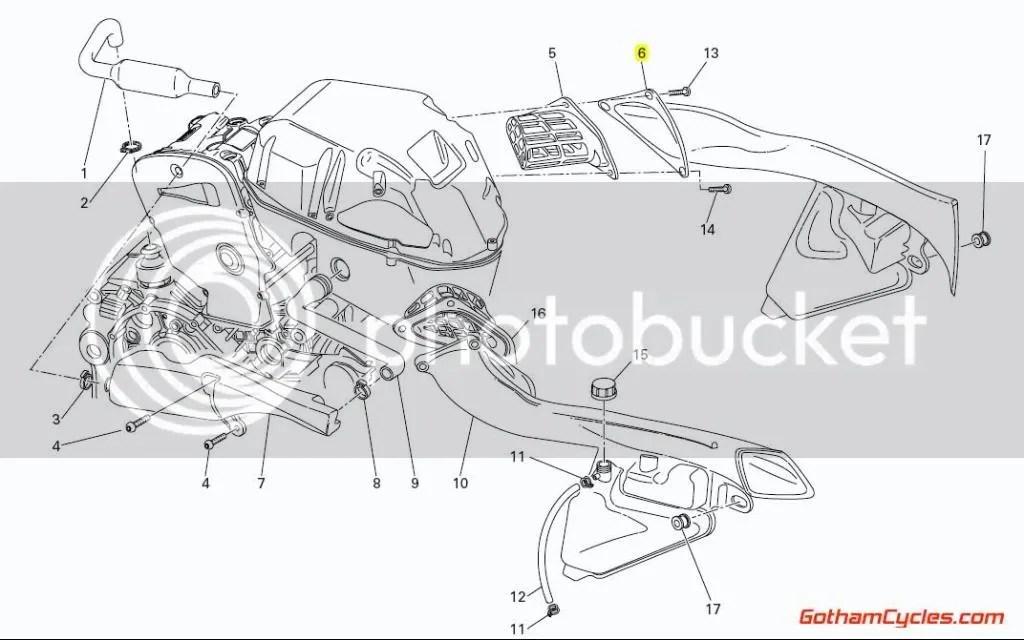 Ducati Left Air Runner Intake Tube Coolant Tank: 749/999