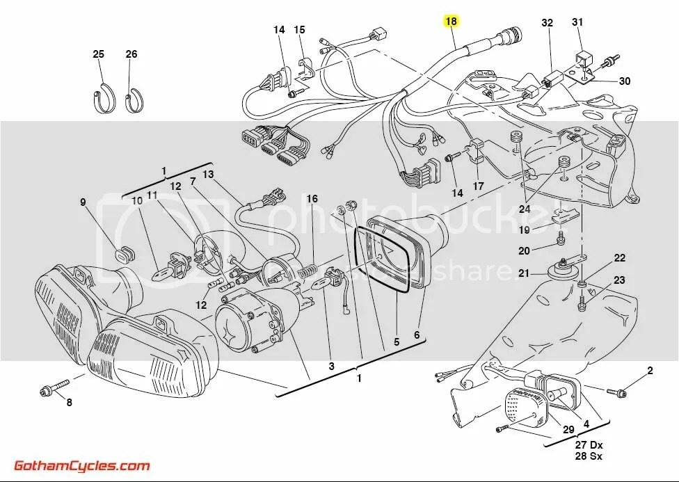 Ducati Front Wiring Harness Late Style: 748/996 SUPERBIKE