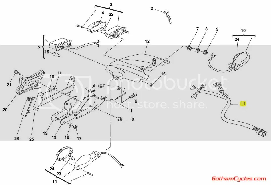 Ducati Rear Wiring Harness: Monster 51010761B MONSTER 400