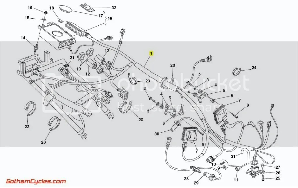 Ducati Rear Wiring Harness Monoposto 1.6 ECU: 748-996
