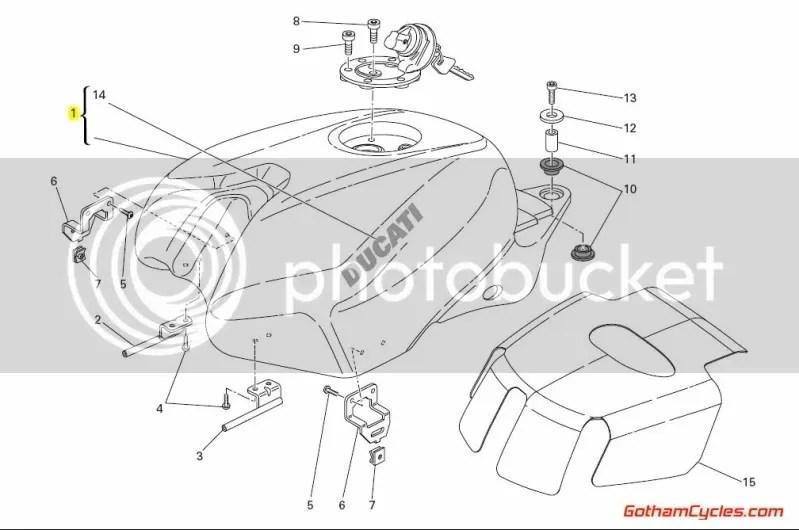 Ducati Gas Fuel Petrol Tank Red: 848-1198 SUPERBIKE 848
