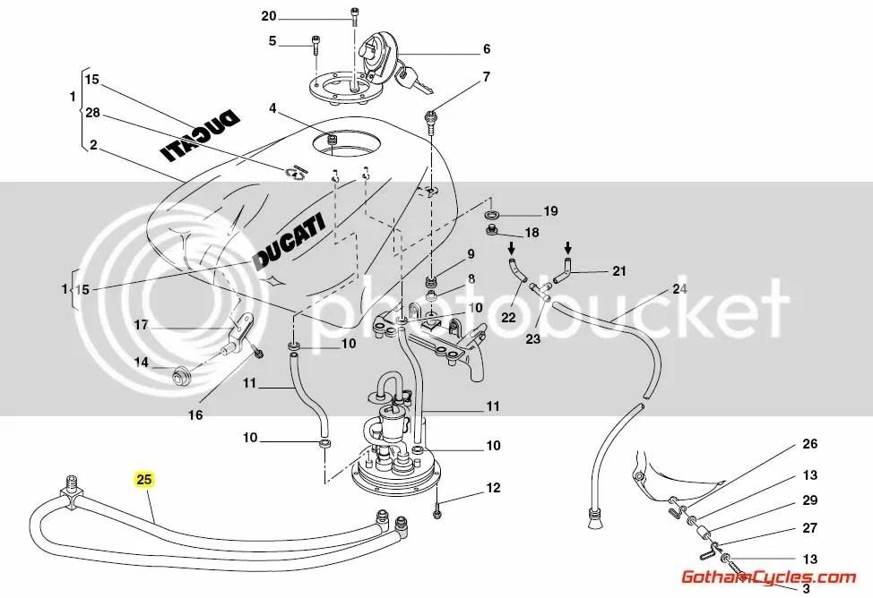 Ducati Gas Tank Fuel Line: 996R/998 SUPERBIKE 996R 998