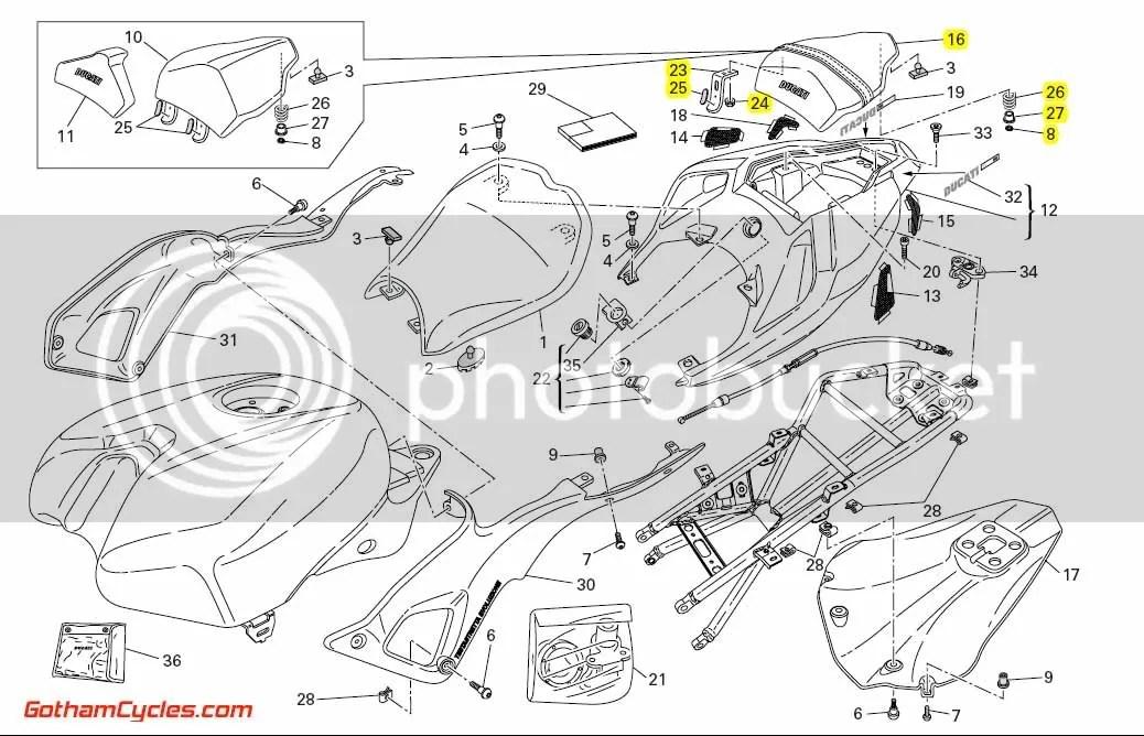 Ducati Biposto Rear Passenger Seat: 848-1198 SUPERBIKE 848