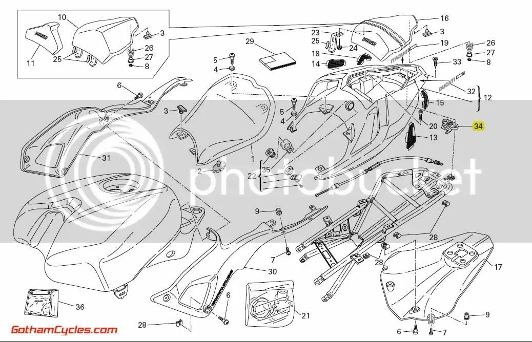 Ducati Tail Latch Trunk Release Cable: 848/1098 SUPERBIKE