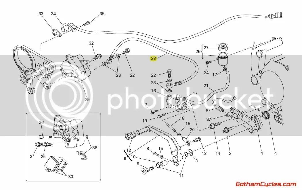 Ducati Steel Braided Rear Brake Line: 848/1098 SUPERBIKE