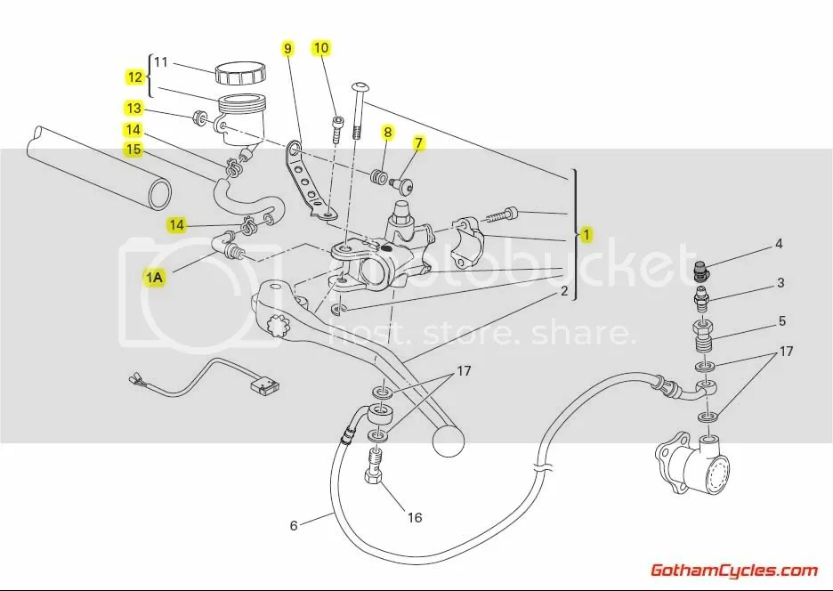 Ducati Brembo Complete Clutch Master Cylinder Radial: 848