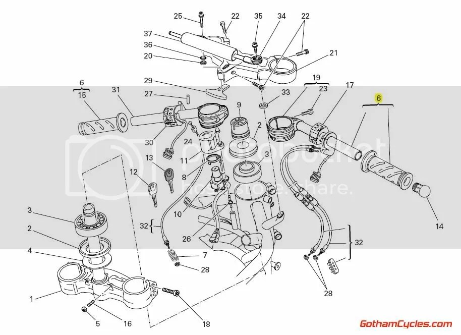 Ducati Throttle Cable Tube and Grip: 749/999, 848/1098