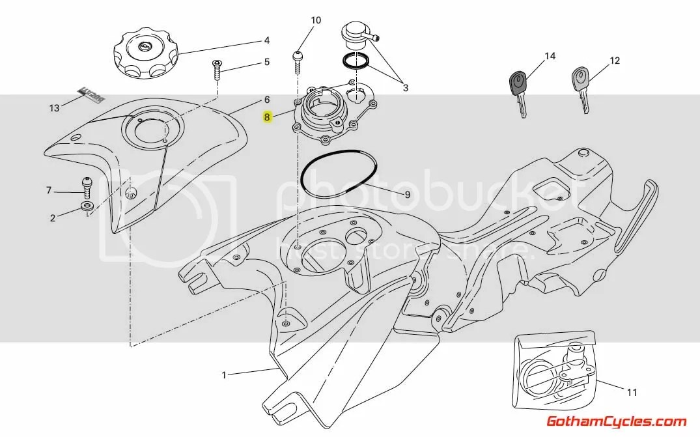Ducati Inner Gas Tank Cap: Hypermotard 66810401A