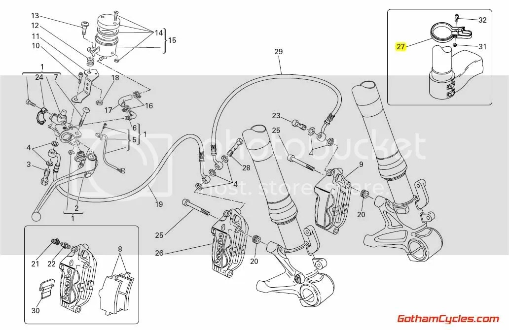 Ducati Front Brake Line Clamp: 848/1098 SUPERBIKE 1098
