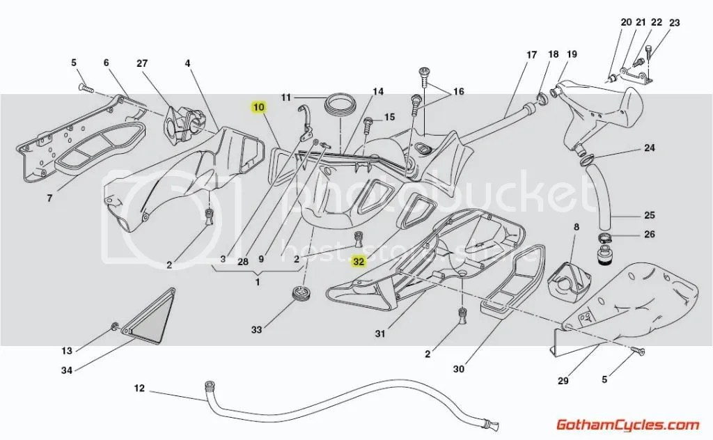 Ducati Air Runners Airbox Rubber Gaskets: 748-998