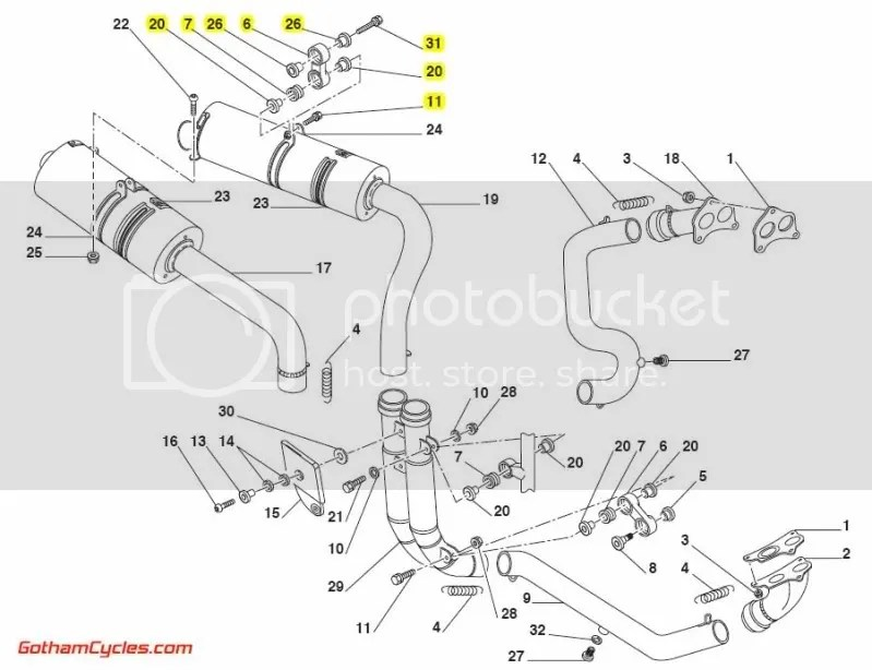 Ducati Exhaust Hangers Mounting Brackets & Bolts: 748-998