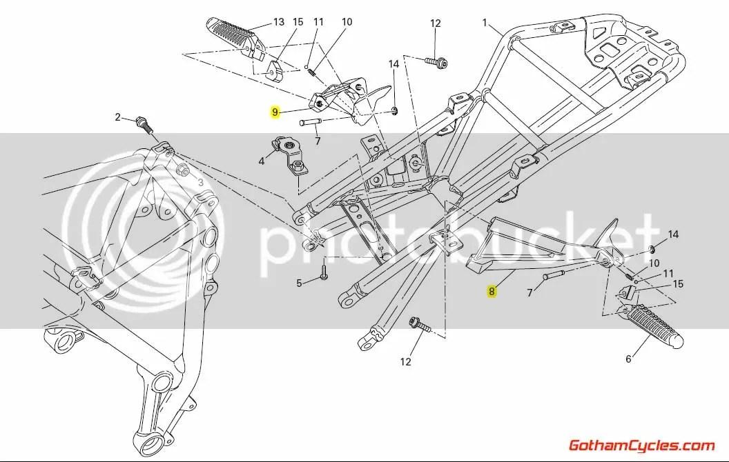 Ducati Passenger Foot Pegs Black: 848-1198 SUPERBIKE 848