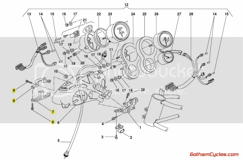 Ducati Front Wiring Harness Headlight Bucket Bracket: 748