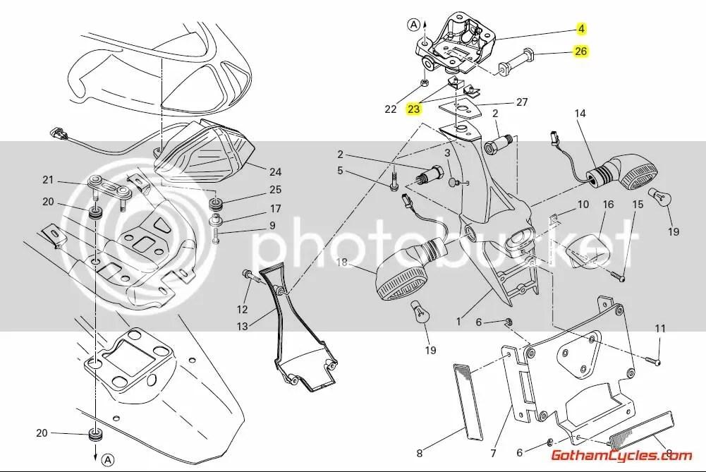 Ducati Number Plate Tail Bracket: 848/1098 SUPERBIKE 848