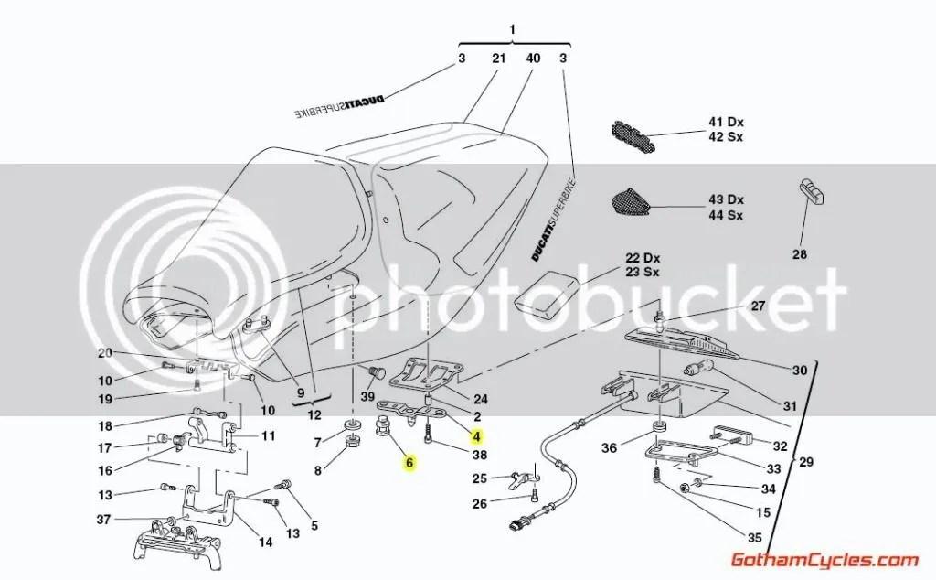 Ducati Tail Light Release Bracket: 82920042A 748-998