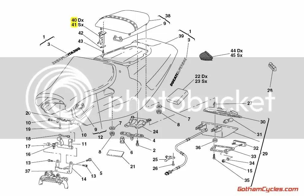 Ducati Passenger Seat Brackets: 748-998 SUPERBIKE 748 748S