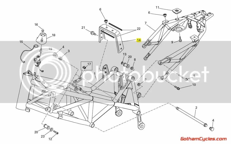 Ducati Seat Bracket: Hypermotard 83014461A HYPERMOTARD
