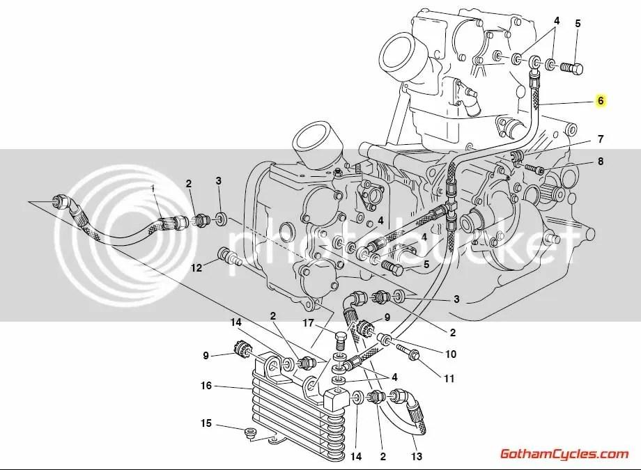 Ducati Steel Cylinder Head Oil Line: 748R-996 SUPERBIKE