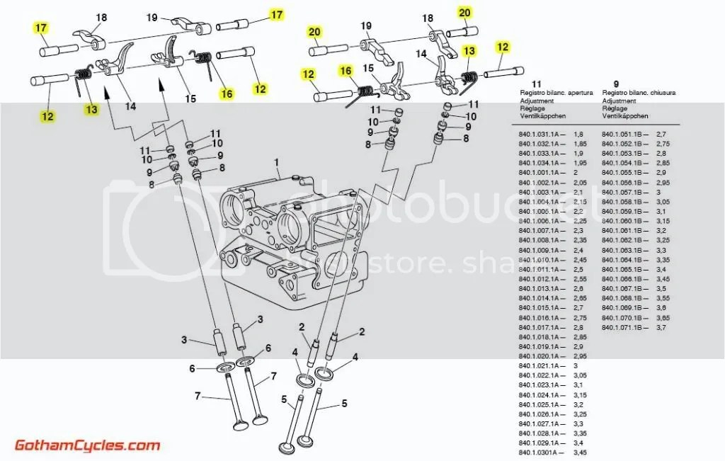 Ducati Rocker Shafts Springs: rockers 748-996, ST4