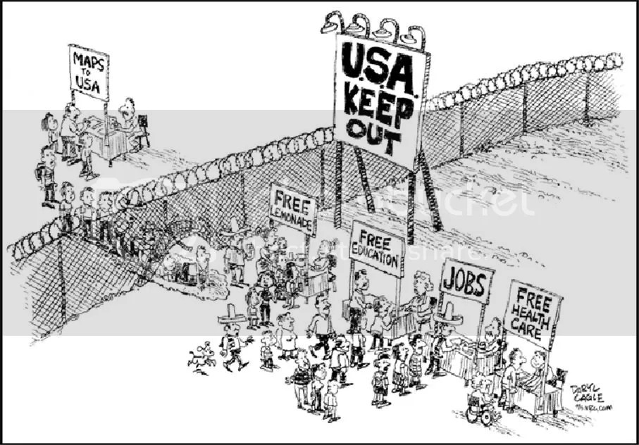 "Legal or illegal immigrants - Xenophobia Rules (""Illegal Immigrants"" Named ""Texan Of The Year"" by Dallas Morning News; Cartoon by Daryl Cagle; courtesy - cagematch.dvorak.org). Click for larger image."