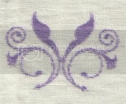 stitched 1x1 on 35 ct Kail hand dyed linen from Hand Dyed Fibers (HDF) using the sue - purple suilk range also from HDF