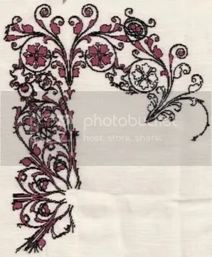 French Filigree (HAED) stitched 1x1 on 35 ct linen using hdf silks in black and a mystery pink