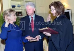 Hillary Rodham Clinton is sworn in as the U.S. Secretary of State.