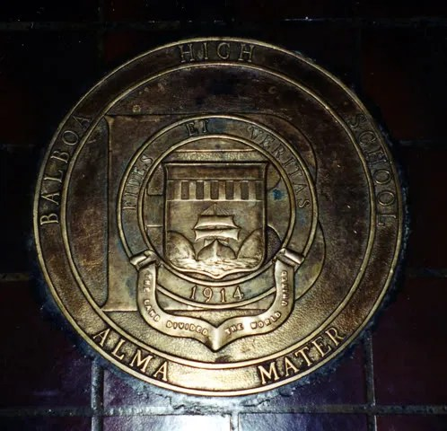 The school plaque formerly found in the main hall of Balboa High School, Balboa, Panama City, Panama.  (Credit:  Wikipedia Encyclopedia)