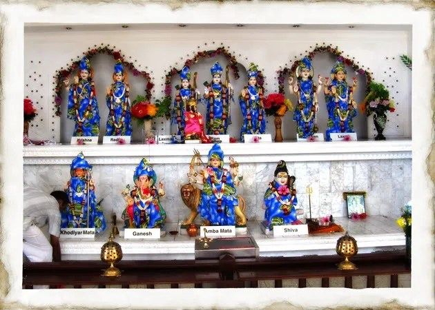 View of the different Hindu Gods inside the temple.  Hinduism is not a monotheistic religion, they believe in many Gods.