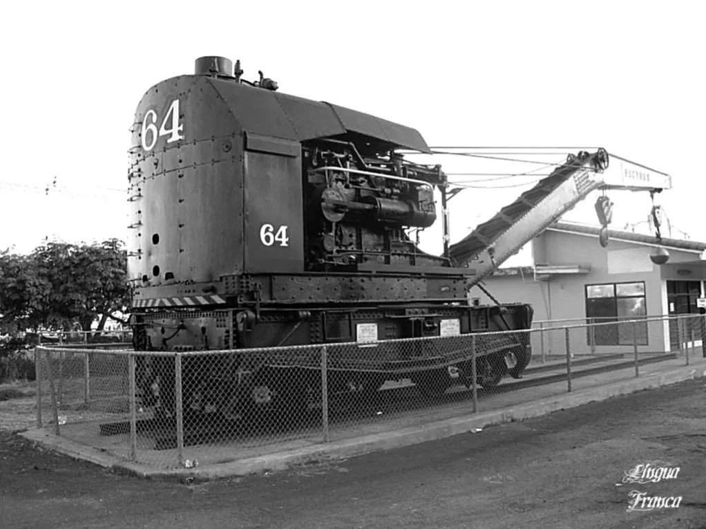 Photograph of a large 75 ton steam engine railway crane built by the Bucyrus Co., South Milwaukee, Wis.  The picture was taken on March 22, 2009.  (Credit:  Omar Upegui R.)