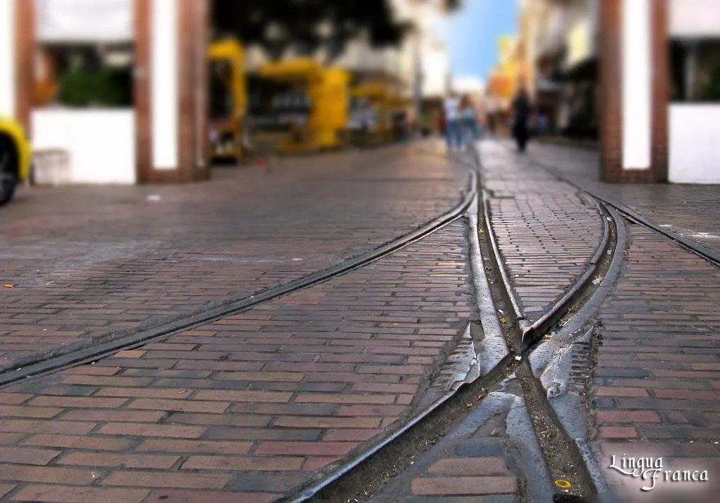 Photograph of the tram rails stretching from Santa Ana Plaza to the Avenida Central.  (Credit:  Omar Upegui R./Michael Moore)
