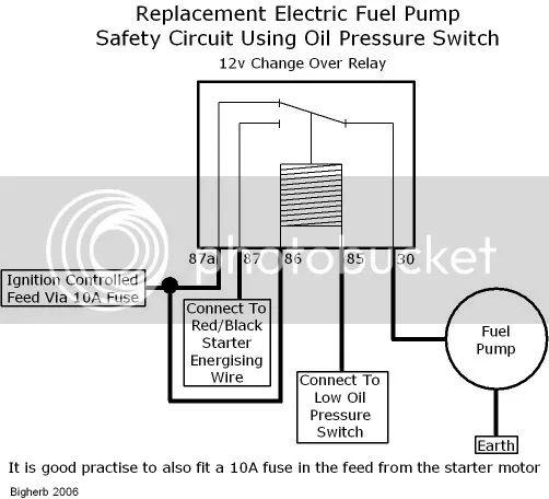 wiring electric fuel pump oil pressure switch