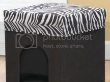 PET BED HOME DECOR OTTOMAN BLACK ZEBRA PRINT FOLDABLE ...