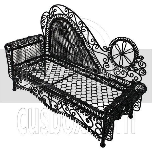 Black Wire Chaise Longue Long Sofa Sleeper 1/12 Doll's