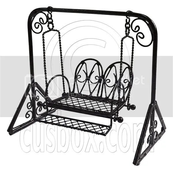 Black Metal Garden Swing Rocking Hanging Chair 1/16 Doll's