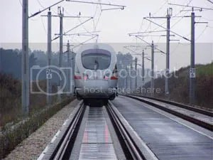 This European high speed train receives its power through the overhead catenary wires.