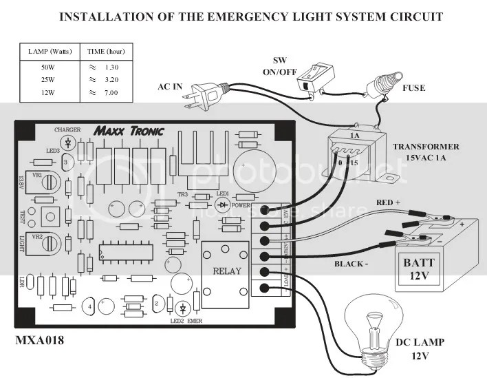 Emergency Light System 12V / 7A Battery Project board 50W