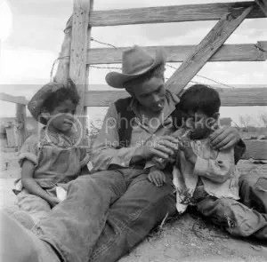 James Dean with children (on set of Giant) from the Richard Miller photography archive collection.