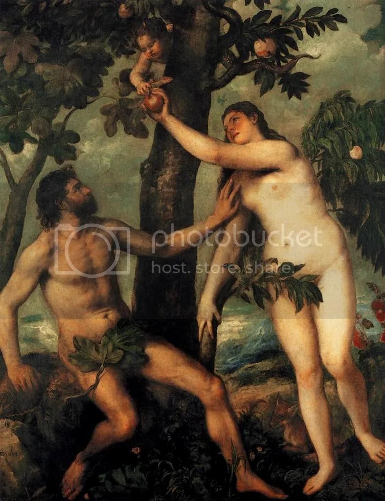 adam and eve in the garden of eden photo: Titian Adam and Eve TitianAdamandEve.jpg