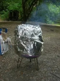 Beer Can Chicken cooking