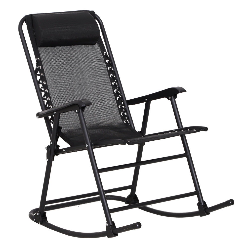 Camping Rocking Chair Outsunny Garden Rocking Chair Folding Outdoor Adjustable Rocker Zero Gravity Seat With Headrest Camping Fishing Patio Deck Black